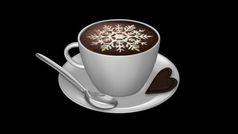Coffee Snowflake - Isolated Cup Stock Video Footage