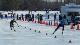 Speed Skating sprint race at Hawrelak Park in Edmonton, Canada