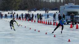 Speed Skating sprint race at Hawrelak Park in Edmonton, Canada Footage