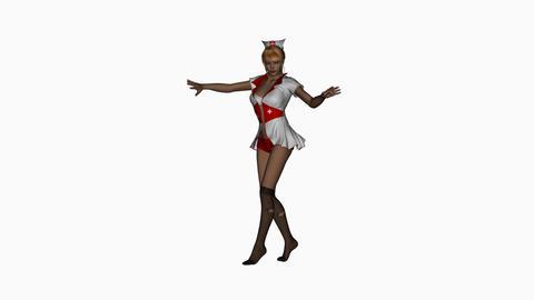 beautiful girl, nurse, dancing, animation,,Alpha Channel Animation