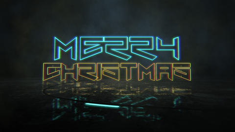Animation text Merry Christmas and cyberpunk animation background with neon lights on street of city Animation