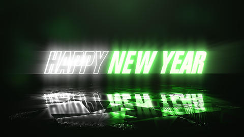 Animation text Happy New Year and neon green and white text color, abstract holiday background Animation