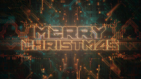 Animation intro text Merry Christmas and cyberpunk animation background with computer chip and neon Animation