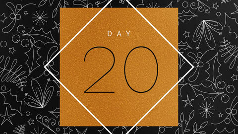 Elegant Christmas Advent Calendar Black and Gold Foil Number Reveals Animation