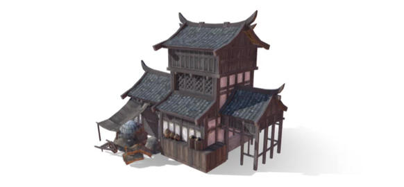Chinese house shop 3D Model