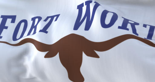 Fort Worth flag, city of Texas state, United States of America, slow - loop Animation