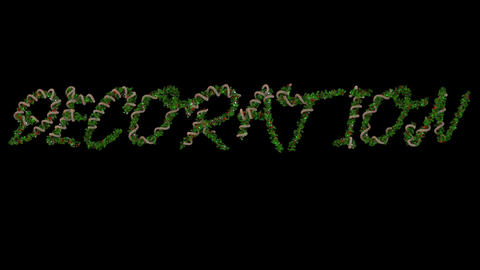 Animated Christmas wreath typeface letters forming the word Decoration Animation