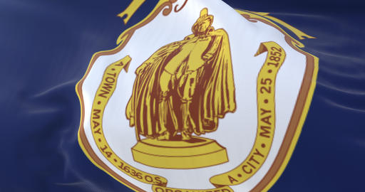 Springfield flag, city of Massachusetts, United States of America, slow - loop Animation