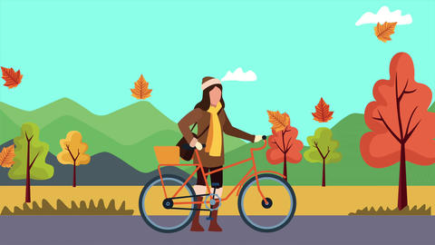 Hello autumn animation with beautiful woman and animals 4k animated 2 Live Action