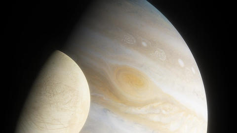 Ice moon europa on the background of the large gas planet jupiter 3 Live Action