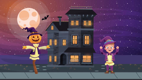Happy halloween animated scene with 4k animation 5 Live Action