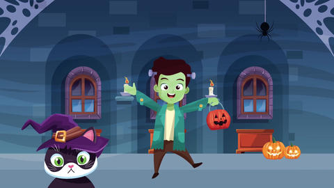 Happy halloween animated scene with 4k animation 9 Live Action