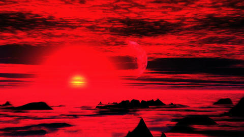 Surreal Sunset On An Alien Planet Animation