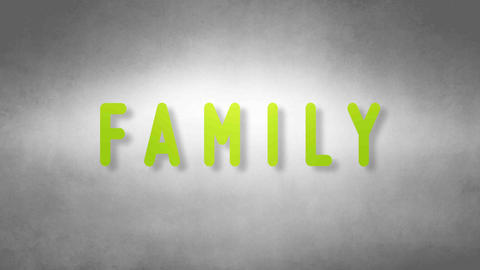 Family headband. Text from sand. With black background Animation