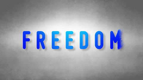 Freedom headband. Text from sand. With black background Animation