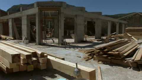 Unfinished building, last floor, building material Live Action