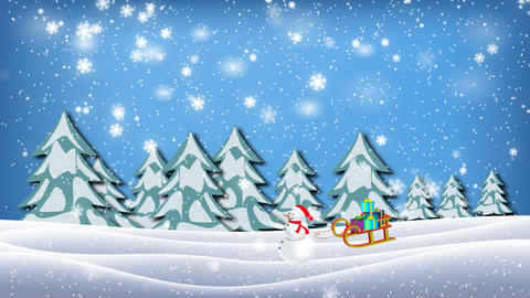 Snowman pulled sleigh full of present in christmas winter landscape Animation