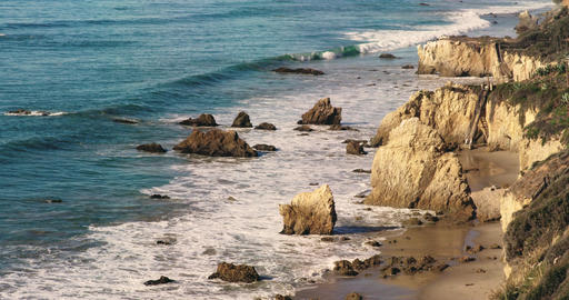 Deserted Wild El Matador Beach Malibu California Ocean Waves with Rocks Footage