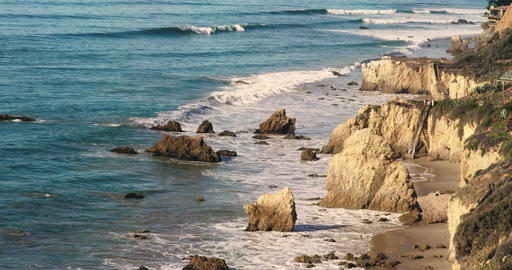 Deserted Wild El Matador Beach Malibu California Ocean Waves with Rocks Footage