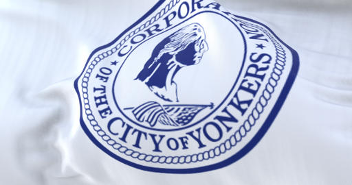 Yonkers city flag, New York, United States of America, slow - loop Animation