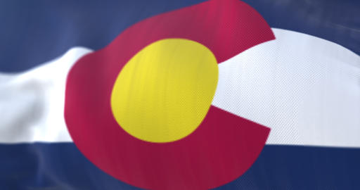 Flag of Colorado state waving at wind, region of the United States - loop Animation
