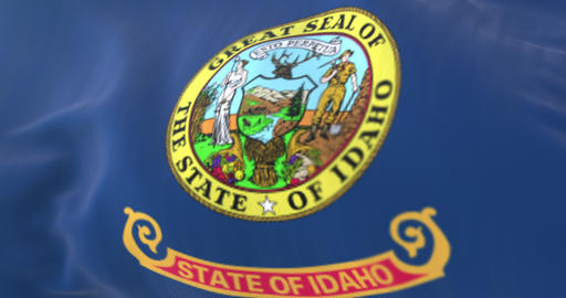 Flag of Idaho state waving at wind, region of the United States - loop Animation