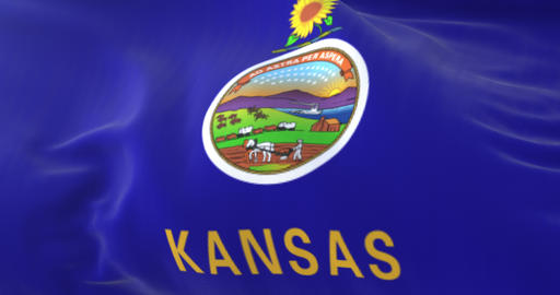 Flag of american state of Kansas, United States, waving at wind. Loop Animation