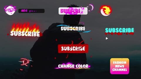 Social Media Subscribe Buttons After Effects Template