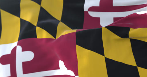 Flag of american state of Maryland, United States, waving at wind. Loop Animation