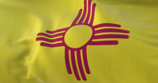 Flag of american state of New Mexico, region of the United States. Loop Animation