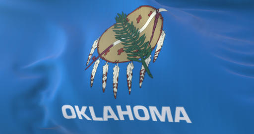 Flag of american state of Oklahoma, region of the United States. Loop Animation