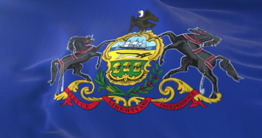 Flag of american state of Pennsylvania, region of the United States. Loop Animation