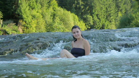 """The girl bathed in river. """"Forest Fairy"""". beautiful girl in water. mountain Live Action"""