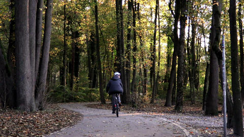 Cycling in the park in autumn Footage