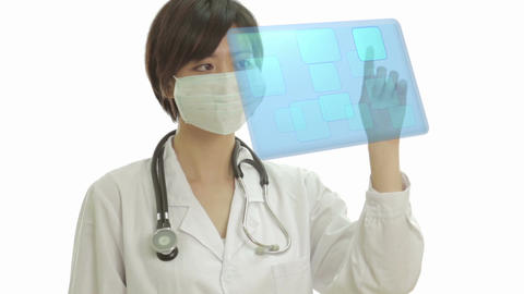 Asian doctor using virtual interface Footage