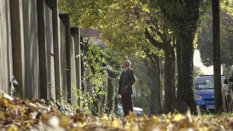 Man talk with neighbor on street Footage