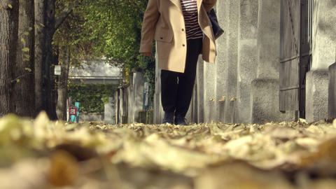 Woman walk on street with leaves Footage