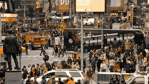 Car Traffic in New York City and Crowds of People. Only Yellow Color Footage