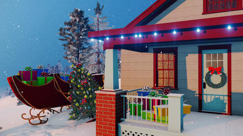 Santas house decorated for Christmas Close up Animation