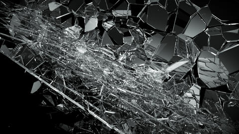 Pieces of destructed Shattered glass in slow motion in 4k. Alpha matte Animation