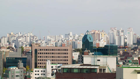 Timelapse of Seoul view with clouds sailing over city, South Korea Footage