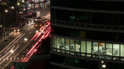 Timelapse of office life and city traffic at night. Seoul, South Korea Live Action