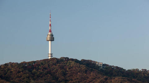 Time lapse shot of freestanding tower in the forest. Seoul, South Korea Filmmaterial