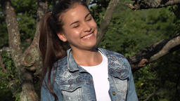 Teen Girl Hears Joke And Laughs Footage