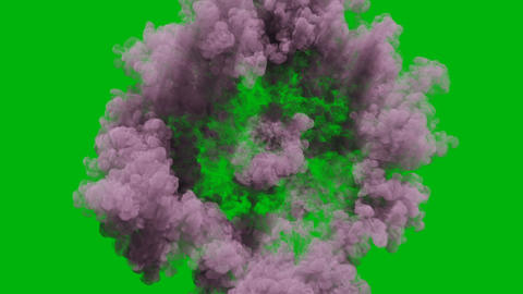 A powerful chemical explosion with a lot of colored smoke. A huge explosion with thick smoke. Animation