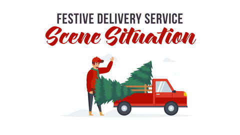 Festive delivery service - Scene Situation After Effects Template
