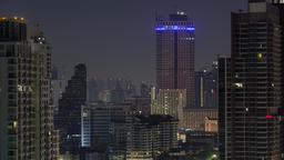 Timelapse of windows lights blinking in night Bangkok, Thailand Footage