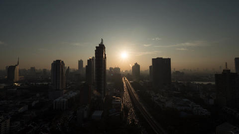 Timelapse of dawn over Bangkok, Thailand 画像