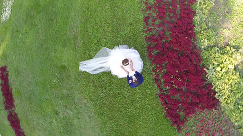 Aerial shot of newlyweds in green park and Moscow view Footage