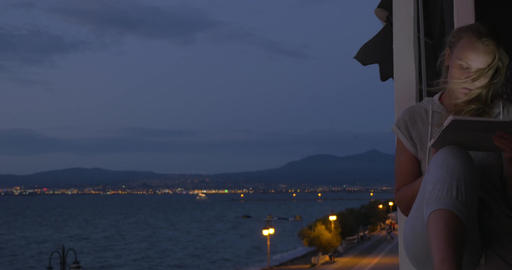 On the coast of city Perea, Greece on evening streets walking people Footage